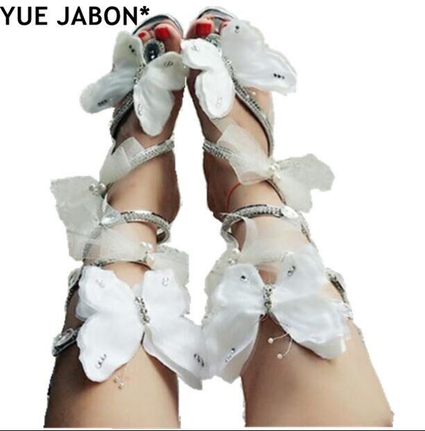 Pink White Flower Summer Luxurious gladiator sandals women Flat Snake Punk Rhinestone Flat Heel Women Sandals Wedding Party shoe|Women