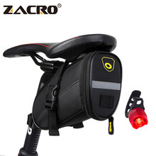Zacro Bicycle Bike Saddle Bag Cycling MTB Bycicle Bike Rear Bag Reflective Seat Saddlebag with 3 Mode Taillight Bike Accessories(China)