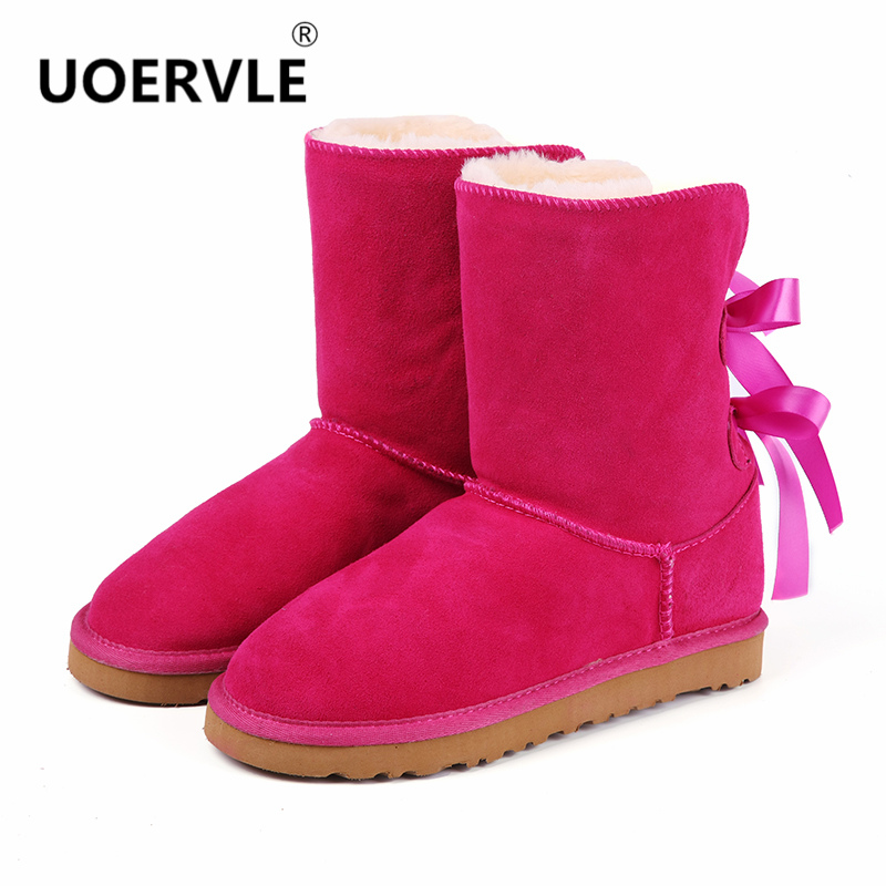 US $26.9 |UOERVLE NEUE Marke Frauen Schnee Stiefel Wildleder Schaffell Pelz Bogen Australien stiefel Frauen Warme Schmetterling Knoten Winter Schuhe