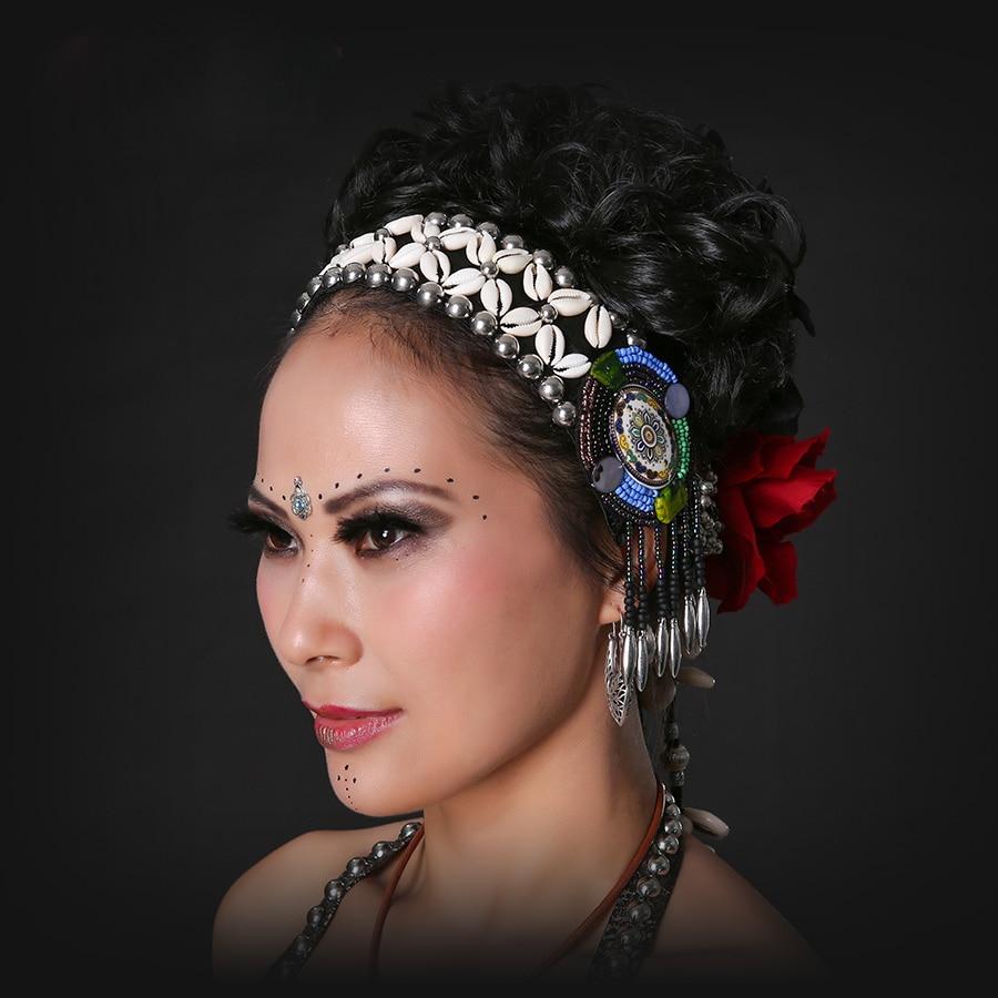 2018 ATS Tribal Belly Dance Accessories Women Headpieces Dance Headbands Bellydance Tassel Gypsy Dance Tribal Headband