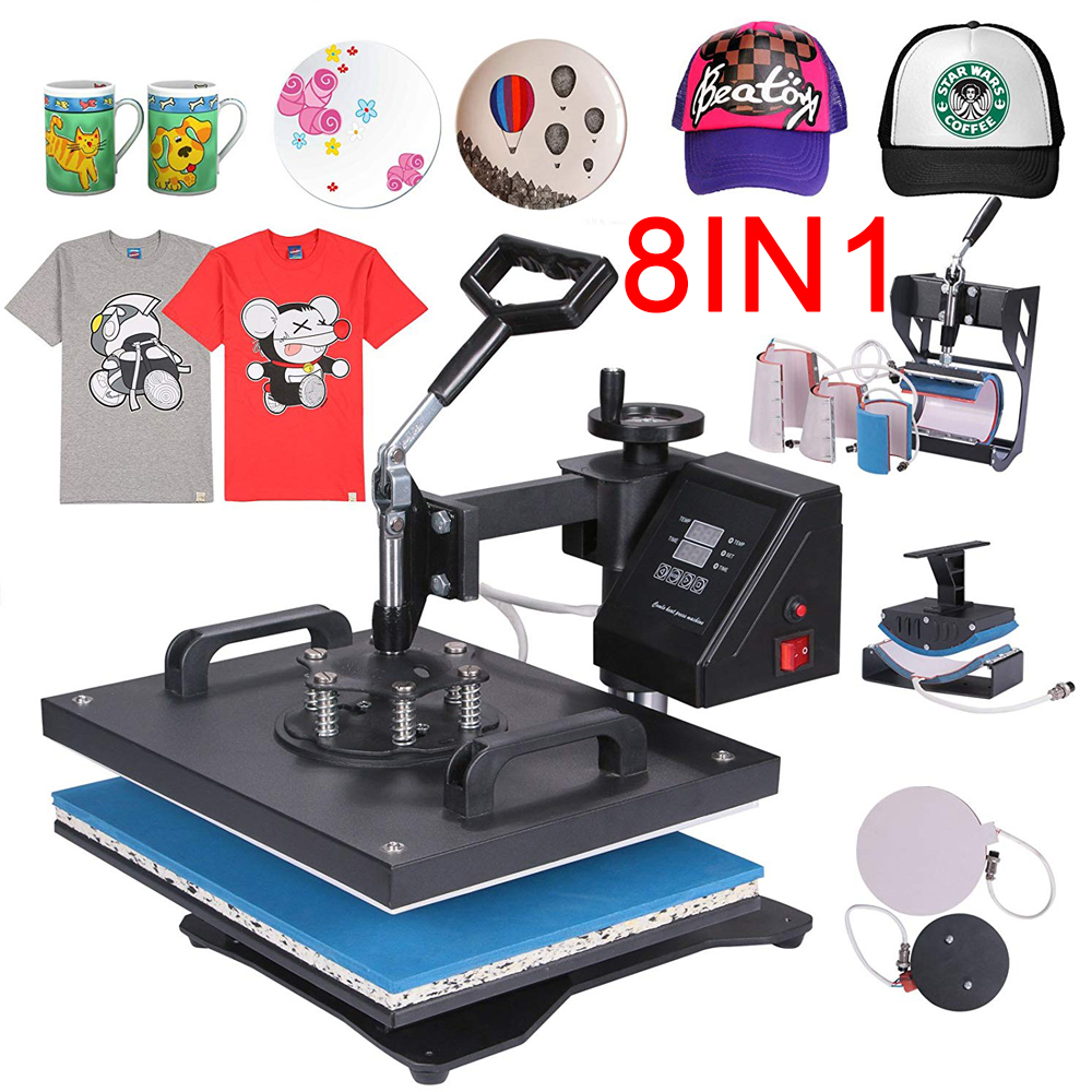 Promotion doubl display 30 38CM 8 in 1 Combo Heat press Machine Sublimation Printer 2D Transfer