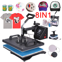Promotion doubl display 30*38CM 8 in 1 Combo Heat press Machine Sublimation Printer 2D Transfer