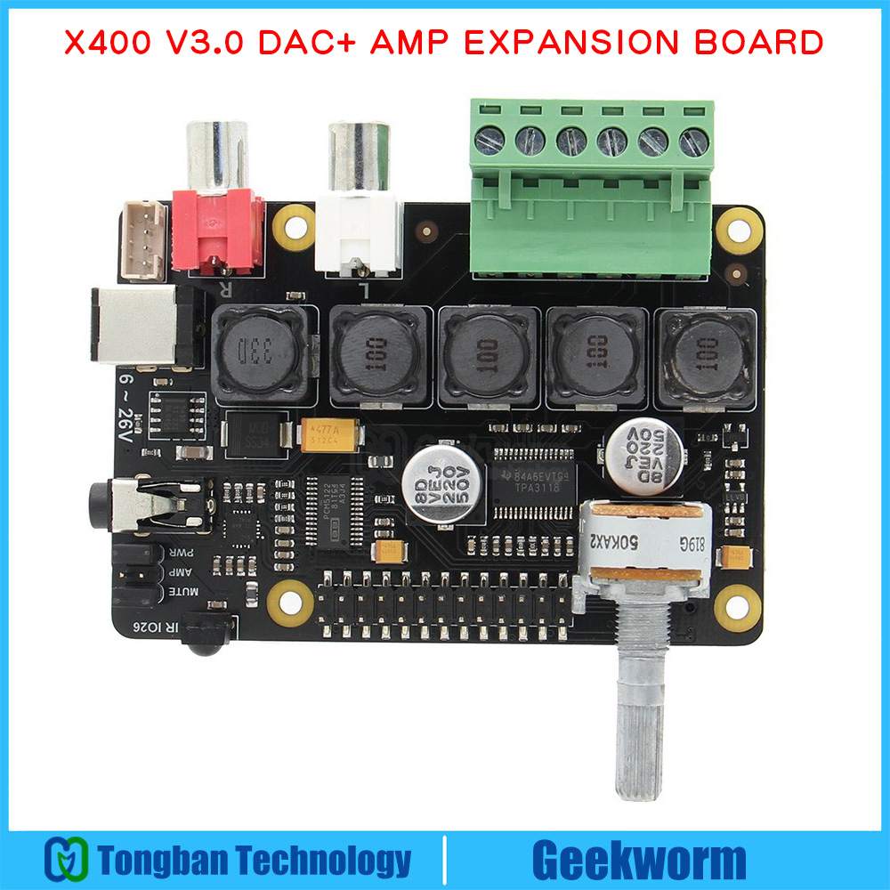 Raspberry Pi DAC Full-HD Class-D Amplifier I2S PCM5122 X400 Audio Expansion Board Raspberry Pi 3 Model B+(Plus)/3B Music Player