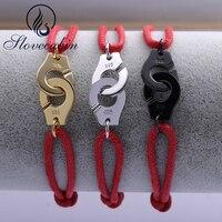 Slovecabin Red Rope Handcuff Bracelet For Women Europe Popular Pure 925 Sterling Silver Wedding Bracelet For