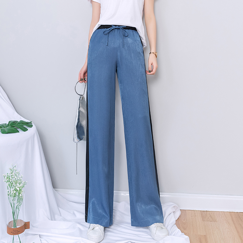 2019 New Summer High Waist   Wide     Leg     Pants   Women Spliced Panelled Lace Up Pockets Trousers Women Korean Plus Size Palazzo   Pants