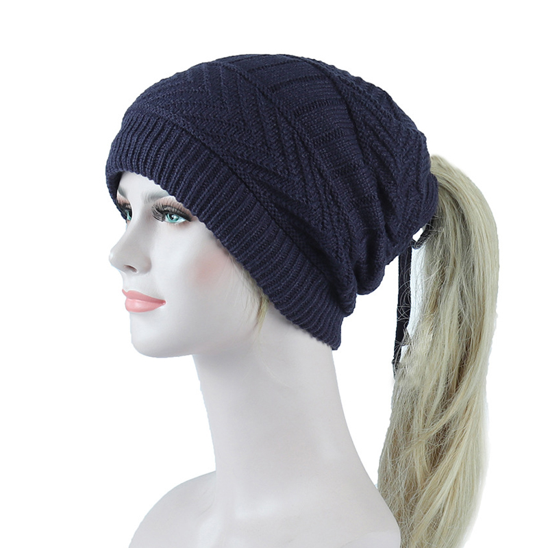 2019 New Ponytail   Beanie   Fleece Inside Winter Hat For Women Outdoor Warm Knitted   Skullies     Beanies   Hat Scarf Two Usage