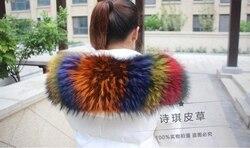 Colorful Genuine Raccoon Fur Detachable Collar Scarfs Fashion Coat Sweater  Luxury Raccoon Fur Collar TKC006-multi