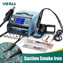 YIHUA 992DA + ЖК-паяльная станция с курением припой вакуумная Ручка BGA паяльная станция горячий воздух фен сварочная станция