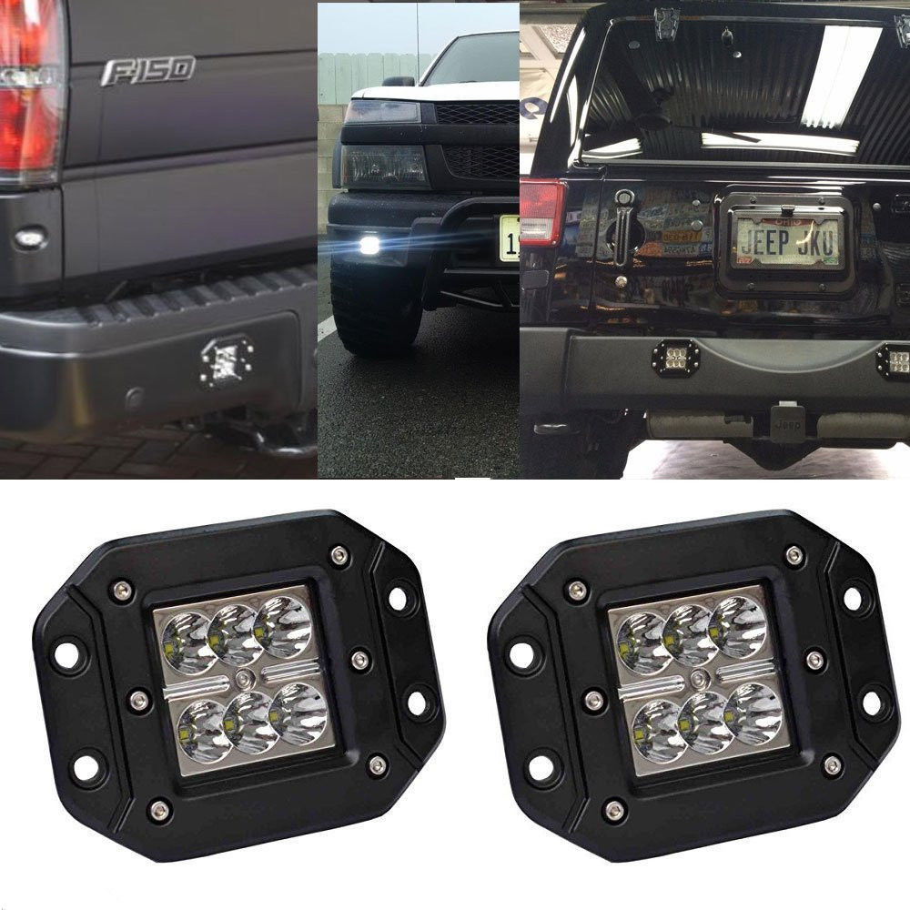 2X 16W Flush Mount Led Work Light Flood fit 4X4 ATV JEEP Offroad Driving Lamps