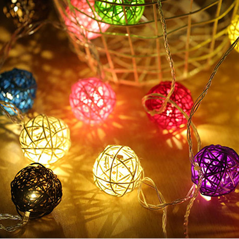 20 RGB Rattan Balls LED Christmas Outdoor String Light Wedding Fairy Holiday Garden Patio Room Decorative Garland Colorful Light