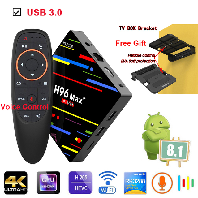 US $47 39 30% OFF|Android 8 1 Smart TV Box H96 Max + Plus RK3328 4GB RAM  32GB ROM USB 3 0 2 4GHz WiFi Set Top Box 3D 4K HD H 265 IPTV Media  Player-in