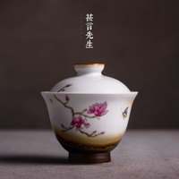 covered a large sized ceramic tea cup, made a tea bowl, Jingdezhen hand painted pastel and rough pottery Sancai bowl cup