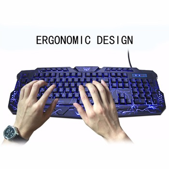 M200 Purple/Blue/Red LED Breathing Backlight Pro Gaming Keyboard Mouse Combos USB Wired Full Key Professional Mouse Keyboard 5