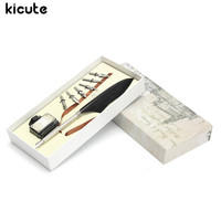 Kicute Vintage Goose Feather Quill Pen Metal Nibs Dip Writing Black Ink Set Stationery Gift Box