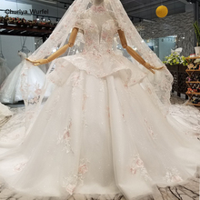LS961211 color flowers cheap wedding dress with peplum off the shoulder sweetheart bridal veil and beaded necklace