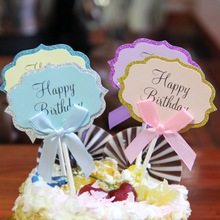 5pcs/lot Bow Happy Birthday Cake Topper DIY Blank Wedding Cupcake Flags Party Baking Decor Baby shower