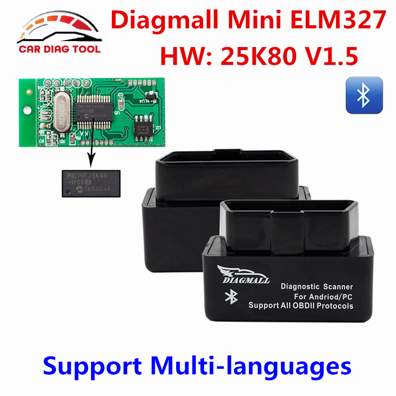 Prix pour Diagmall ELM327 V1.5 Bluetooth OBD2 De Voiture Outil De Diagnostic OBDII Autoscanner ELM 327 V1.5 Code Lecteur Automotivo Pour Android Couple