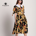 Runway 2017 Spring Dress EE Long Silk Summer Dresses Brand Famous Luxury Women Dress Ladies Real Silk Dresses