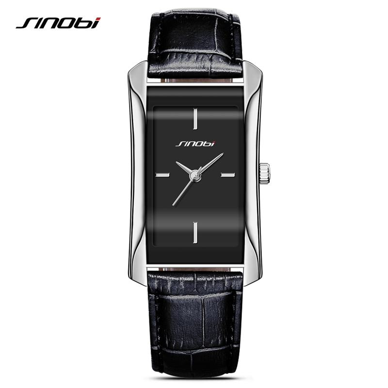 SINOBI Elegant Women's Rectangle Wrist Watches Durable Leather Watchband Top Luxury Brand Ladies Geneva Quartz Clock Female Gift
