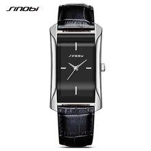 SINOBI Elegant Womens Rectangle Wrist Watches Durable Leather Watchband Top Luxury Brand Ladies Geneva Quartz Clock Female Gift