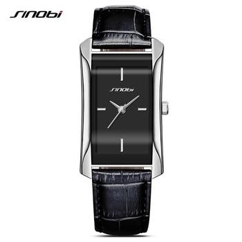 0e993248f090 SINOBI de las mujeres elegantes rectángulo relojes Durable correa de cuero  de marca de lujo de