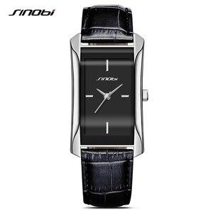 Image 1 - SINOBI eleganckie damskie prostokątne zegarki trwałe skórzane Watchband Top luksusowa marka panie genewa zegar kwarcowy kobiet prezent