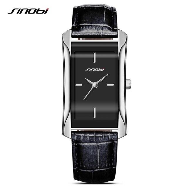 SINOBI eleganckie damskie prostokątne zegarki trwałe skórzane Watchband Top luksusowa marka panie genewa zegar kwarcowy kobiet prezent