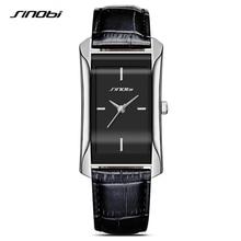 SINOBI zarif kadın dikdörtgen bilek saatler dayanıklı deri kordonlu saat üst lüks marka bayanlar cenevre kuvars saat kadın hediye