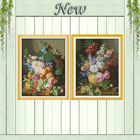 Beautiful Vase Flower And Fruit Decor Painting Counted Print On Canvas DMC 11CT 14CT Cross Stitch