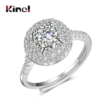 Kinel Luxury Female Big Zircon Stone Wedding Ring 925 Sterling Silver Micro Paved CZ Promise Love Engagement 1ct For Women