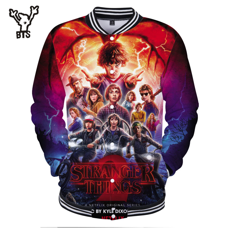BTS 3D Women/Men Baseball Jacket Stranger Things Sweatshirt Lovely Design Winter Hip Hop Coat Fashion Funny Print Plus Size 4XL