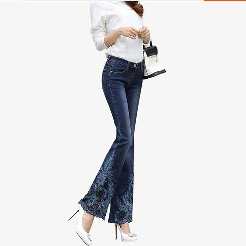 4d3bdc4016 ... Spring Luxury Beading Embroidered Mid Waist Big Flared Jeans Female  Boot Cut Embroidery Lace Bell Bottom. RELATED PRODUCTS. Fashion Women Jeans  Pants ...