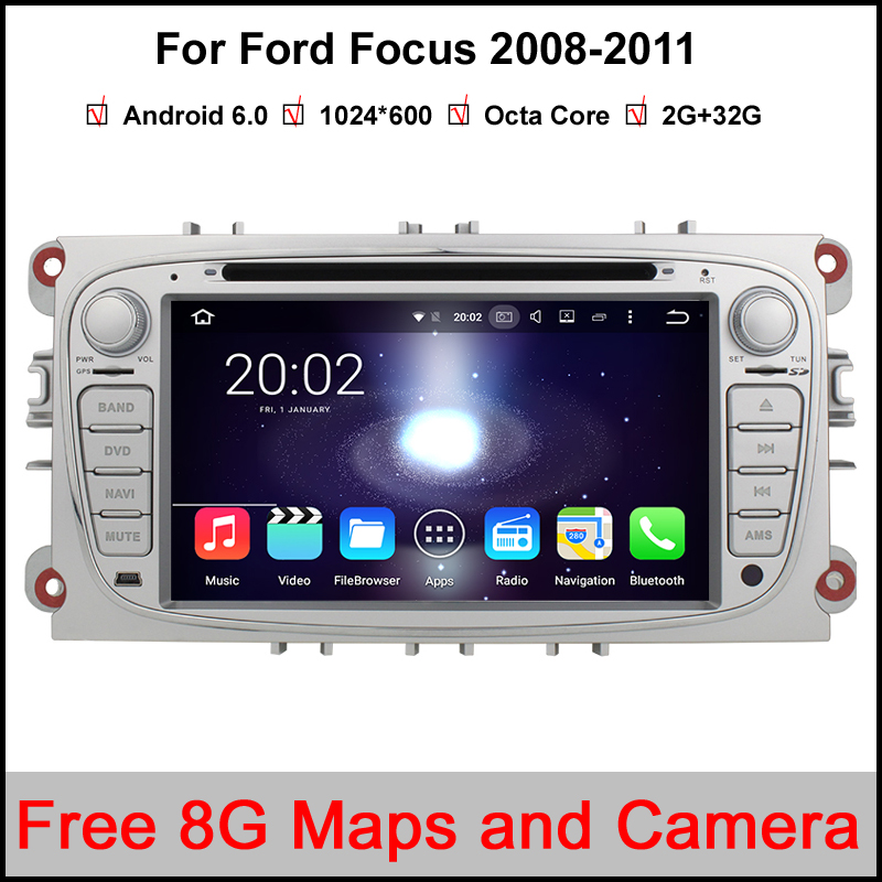 2 Din Octa Core RAM 2GB/32GB Android 6.0 PC Car DVD GPS For Ford Focus C-MAX Galaxy Mondeo Galaxy Kuga With 3G WiFi Stereo Radio