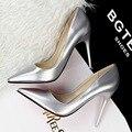 El envío libre 2017 nueva primavera de la moda Poco Profundas bombas de las mujeres OL señaló dedo del pie zapatos de tacón de 10 cm