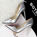 Free shipping 2017 spring new fashion Shallow pumps women OL pointed toe shoes heel 10cm