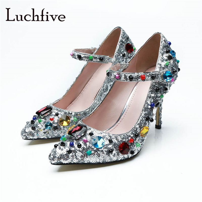 Rhinestone sequined cloth women pumps sexy pointed toe thin high heels one belt strap genuine leather crystal silver 2018