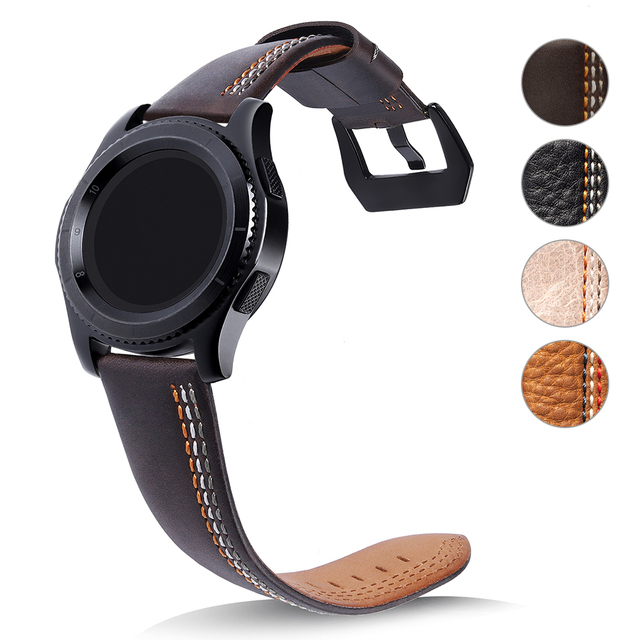22mm Watch Bands Genuine Leather Strap For Samsung Gear S3 Frontier Classic Smar