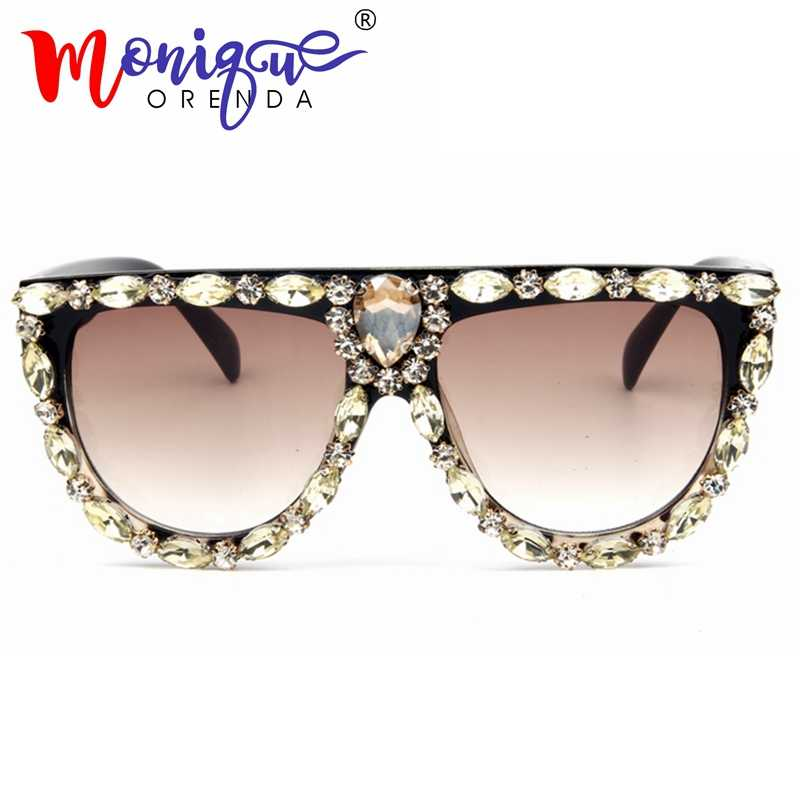 6435a4acea1a Queen Style Sunglasses women 2018 Brand Designer Vintage glasses Women Luxury  Diamond oversize Sun glasses for