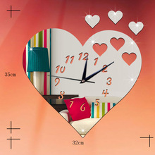Heart-shaped wall clock Living room background acrylic mirror gold sliver Silent quartz