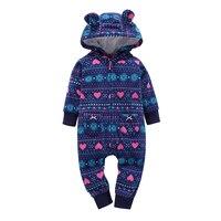 Brand Fall Cute Baby Rompers Giraffe Fleece Lining Baby Hooded Jumpsuit Infants Newborn Clothing Kids Outwear