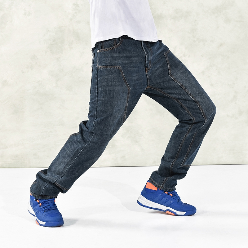 Mens Hip Hop Darked Wash Jeans100% Cotton Denim Baggy Jeans Pants Loose Fit Skateboard Casual Wide Leg Denim Pants Plus Size 46 hot new large size jeans fashion loose jeans hip hop casual jeans wide leg jeans