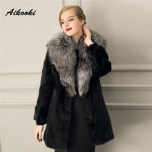 Aikooki En Fausse Fourrure Outwear À Manches Longues Femmes D hiver Pop  Chaud Artificielle Haute ecf380fe403
