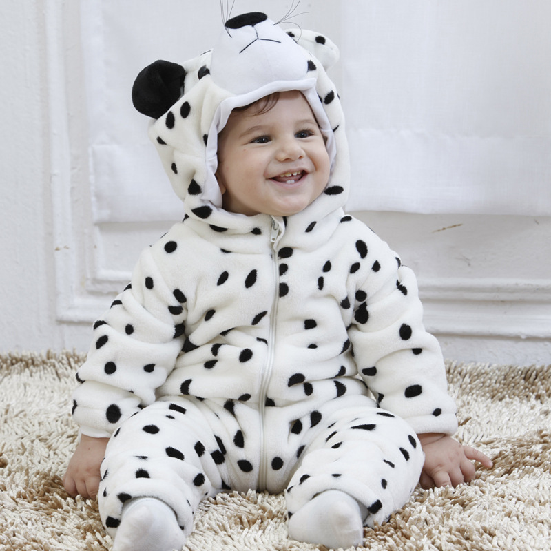 Hot Sale Lovable Snow Leopard Toddler Infant Kids Girls Long Sleeve Romper Black and White Clothes for Baby Halloween Costume