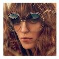 Vintage Redondo Grande lente de Espejo Diseñador de la Marca de Gran Tamaño gafas de Sol de Señora Cool Retro Mujeres UV400 GAFAS de Sol Gafas de sol Femeninas o oculos d