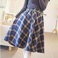 Mujeres del invierno del otoño de lana falda a cuadros falda larga para mujer Vintage elástico de cintura alta caliente oscilación plisada Saia LQ035