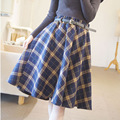 Women Autumn Winter Skirt Woolen Plaid Female Long Skirt Vintage Elastic High Waist Warm Swing Pleated Saia LQ035