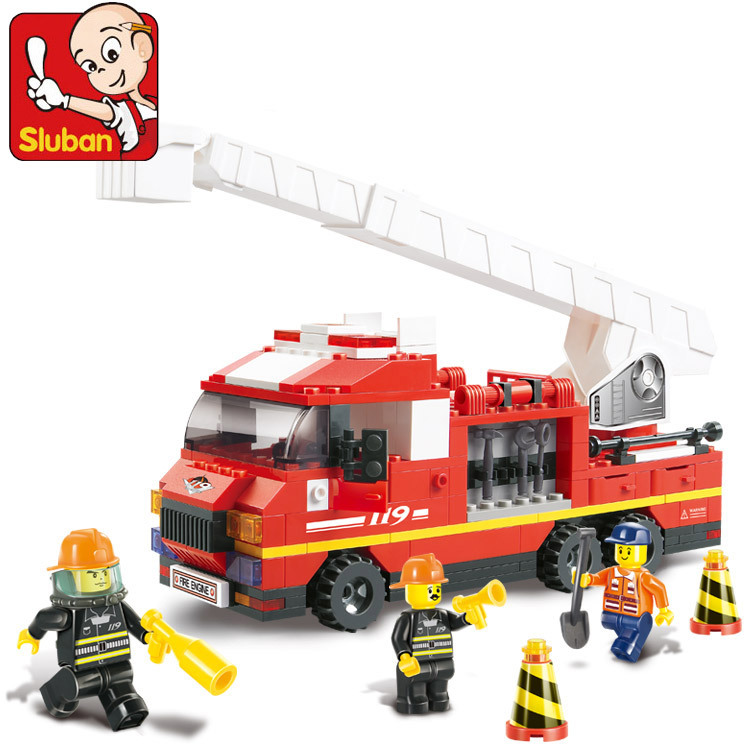 Sluban B0221 Fire Truck Building Blocks DIY Educational 270PCS Plastic  Aerial Ladder Truck Sets Compatible With Legoe машина fire truck пожарная