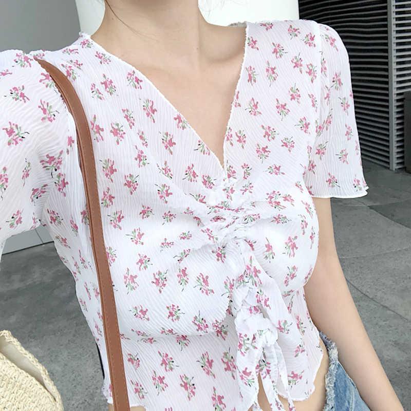 RUGOD 2019 ฤดูร้อน Kawaii ดอกไม้พิมพ์สายรัด Cropped Tops เสื้อยืดผู้หญิงแบบสบายๆ V คอสั้นแขนเสื้อ T เสื้อ Camisas