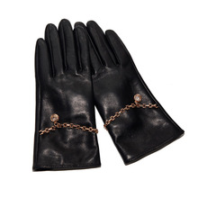 Latest Imported Sheepskin Real Leather Womans Gloves Chain Decoration Black Female Winter Warm LD6115