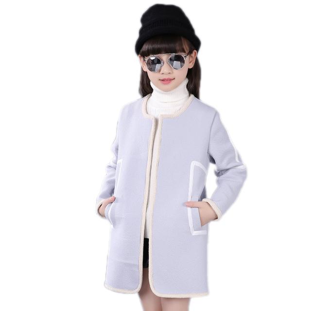 Abrigos niños niñas de invierno 2017 nuevas muchachas de la llegada abrigos y chaquetas calientes sólidas niñas cardigan elegante niños outwear para las niñas 5-11 T